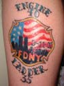 Ray Pfeifer tattoo paying tribute to the brothers lost on 9-11